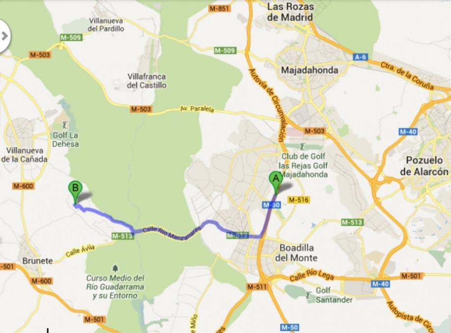 mapaBoadillaA6hotel  La Ermita Hotel Madrid