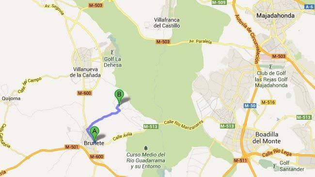 mapa Brunete-hotel